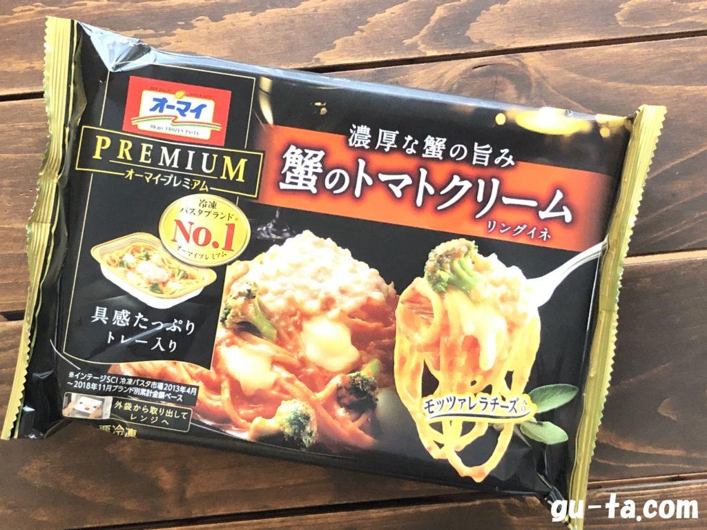 オーマイプレミアムの冷凍パスタ 蟹のトマトクリーム パッケージ